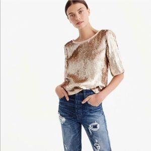 J Crew Cropped Rose Gold Sequin Blouse